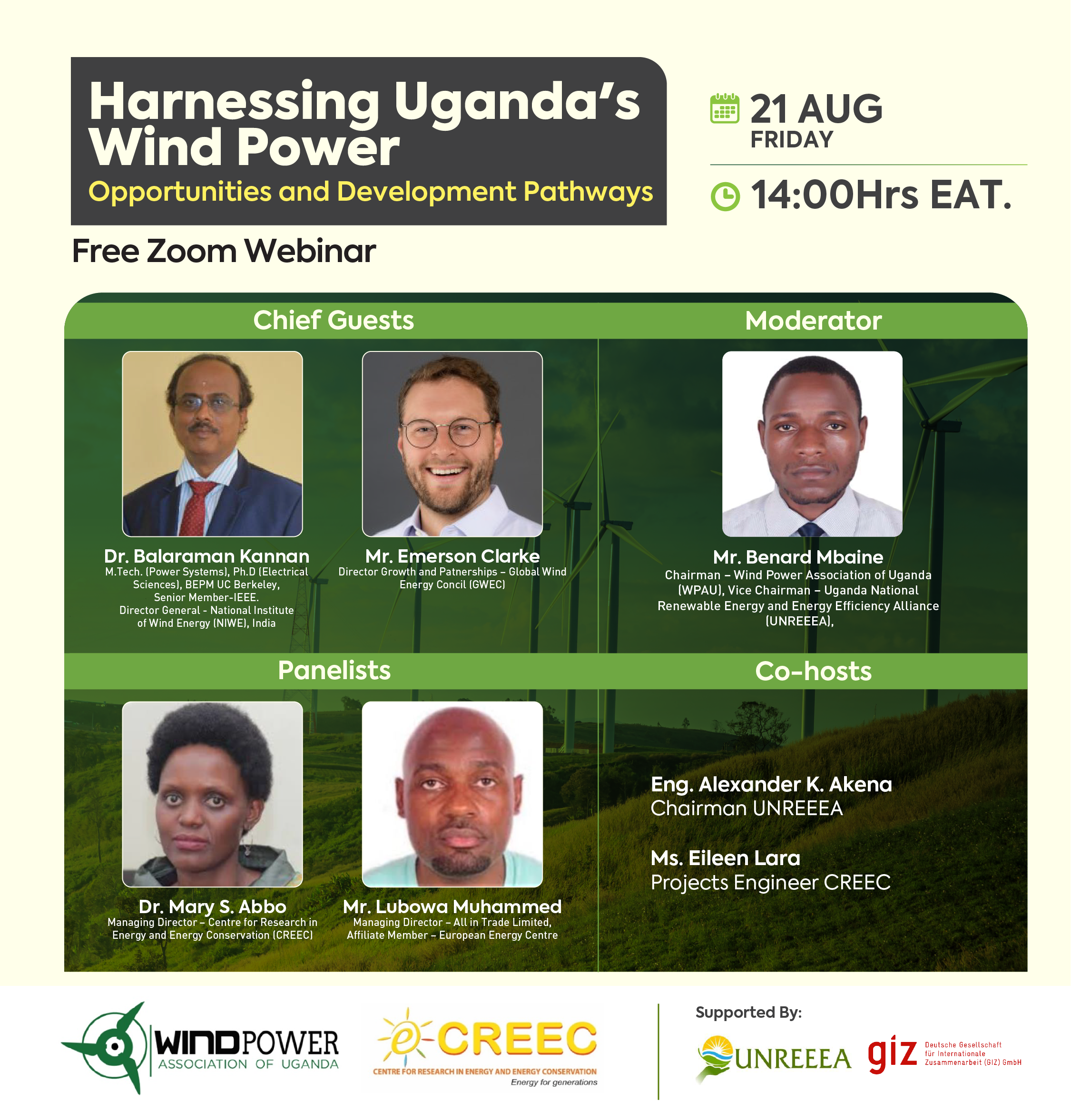 "Webinar Invitation on ""Harnessing Uganda's Wind Power: Opportunities and Development Pathways"""
